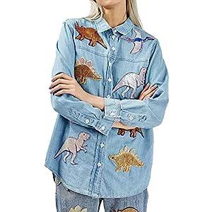 Jeansjacken Damen Frühling Herbst Jacke Dinosaurier Bekleidung Verziert Einreihig Revers Jungen Langarm Irregular Casual Mäntel Young Fashion Trendigen Coat