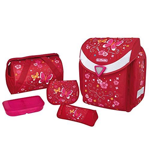 herlitz 50007646 Schulranzen Flexi Plus, Magnetschloss 'Smart Lock', Brustgurt, 17-teiliges Schüleretui, Sporttasche, Faulenzer dreikant, Brotdose pink, Motiv: Butterfly, 1 Stück