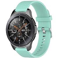 samLIKE Pulsera de Silicona para Samsung Galaxy Watch 46mm (L)–Ajustable Brazalete Deportivo Transpirable Rayas Diseño Pulsera de Repuesto para Hombre y Mujer, 10Colores, Color �� Minzgrün