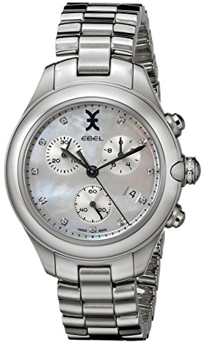 Ebel Onde Femme 36mm Chronographe Bracelet & Boitier Acier Inoxydable Quartz Cadran Blanc Montre 1216177