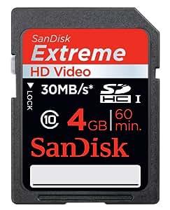 SanDisk - SDSDX-004G-X46 - Carte Mémoire SDHC HD Video - Extreme - Classe 6 - 20 Mo/sec - 4 Go