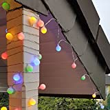 Party Lichterkette bunt 20m mit 80 LED Kugel Strombetrieben RGB IP44 für Balkon, Terrasse, Biergarten oder Party-Keller (80LED)