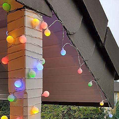 Party Lichterkette bunt 20m mit 80 LED Kugel Strombetrieben RGB IP44 für Balkon, Terrasse, Biergarten oder Party-Keller
