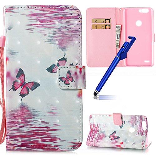 MoreChioce Compatibile con Custodia ZTE Blade Z982 Cover,Rigida Glitter  Colorate Pattern Wallet Flip 3D PU Pelle Portafoglio Antiurto Cover