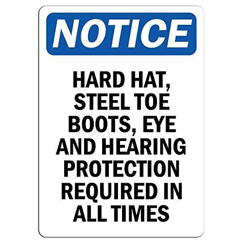 Fluse Notice Hard Hat Steel Toe Boots Eye and Hearing Warning Hazard Vintage Metal Art Chic Retro Blechschild 8 x 12 Zoll Metallschilder Eye Steel Toe Boot