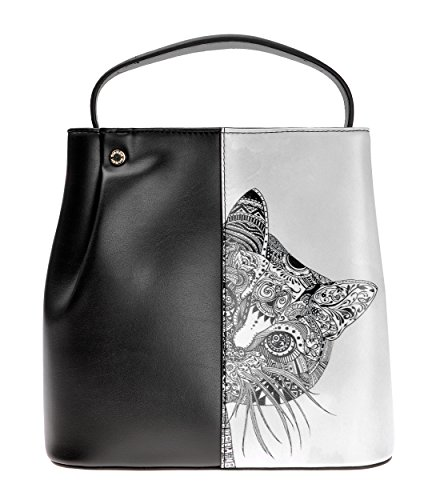 ZLYC Orologio da donna collezione di animali a nascondino Gatto color block borsa croce corpo borsa, Black (nero) - JC-BG-1540-1-BK-1 Black