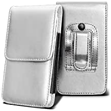 SHARP AQUOS CRYSTAL Holster Case - ( White ) Universal Vertical Pouch Flip Belt Clip PU Leather Wallet Case Bag ( SHARP AQUOS Funda Crystal Case - ( blanco ) Universal funda Vertical Flip Clip de cinturón de cuero pu Bolsa funda monedero  )