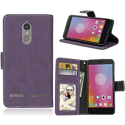 Für Lenovo K6 Power Hülle, Premium PU Leder Schutztasche Klappetui Brieftasche Handyhülle, Standfunktion Flip Wallet Case Cover - Retro Frosted 3 Card Slots (Lila)