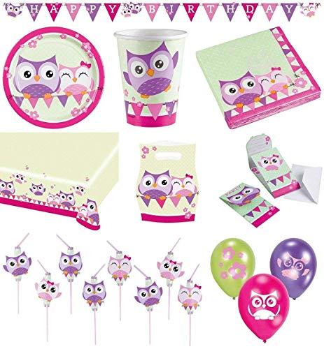 Amscan 68-Teiliges Party Set Eulen Teller, Becher, Servietten, Tischdecke, Einladungskarten, Partykette, Partytüten, Trinkhalme, Luftballons