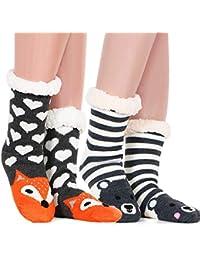 Women Fluffy Socks Slipper Socks Super Soft Fuzzy Socks Winter Warm Snowflake Fleece Lined Crew Home Animal Socks for women and girls