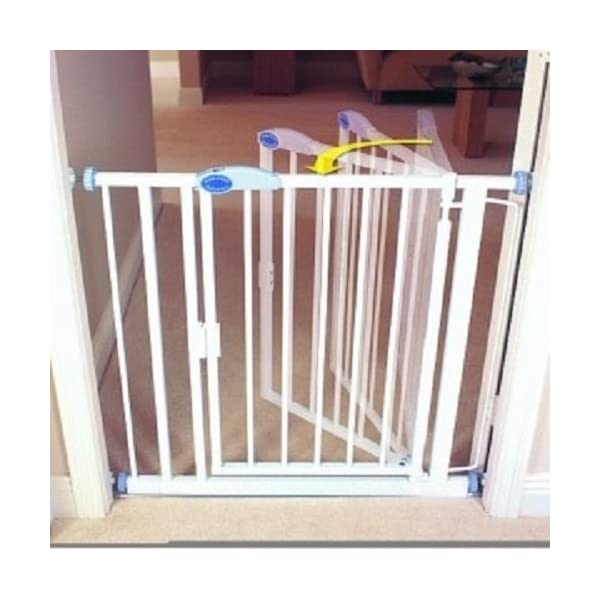 Bettacare Extra Narrow Stair Gate (61 to 66.5 cm) Bettacare Auto close mechanism shuts and locks the gate automatically. Height is 76 cm Designed for Extra Narrow Doors & Stairs 61-66.5cm ,Extra narrow width with a wide walk through area of 46 cm Gate can be extended using optional Bettacare extensions, stair spindle kit also available 2