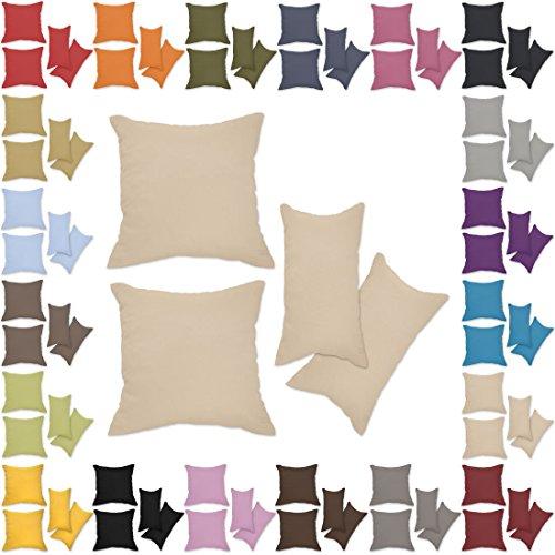Nurtextil24 Kissenbezüge 2er Set Leinen-Optik 25 Farben und 20 Größen Blickdicht mit Reißverschluss Beige 60 x 80 cm