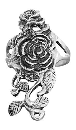 Hobra-Gold RING GROSSE ROSE - AUSGEFALLENER SILBERRING 925 - ROSE TRACHT - ROSENRING SILBER