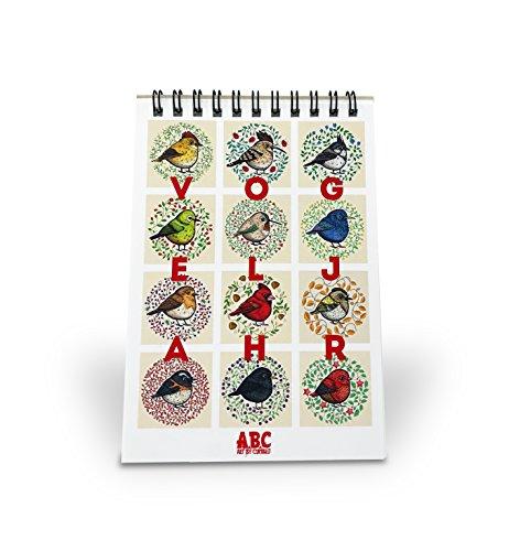 Immerwährender Kalender A6 mit 12 Vogel Grafiken / Tischkalender mit allen nationalen Feiertagen / Jahreskalender - alle Bilder von Hand gezeichnet / Mini Monatskalender mit Spiral Bindung (Ein Vogel In Der Hand)