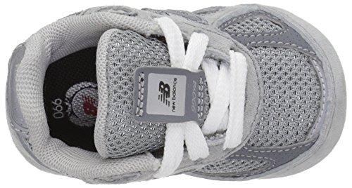 NEW BALANCE - Chaussure de berceau grise à lacets, en suède et synthétique, avec logo latéral et semelle en tissu, garçon, garçons GLC