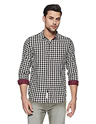 Levis Mens Checkered Regular Fit Casual Shirt (28697-0025_Black & White_XXL)
