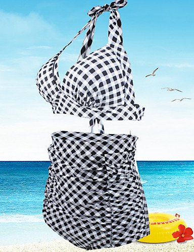 FFZH Damen Tankinis Hochgeschnitten Einheitliche Farbe Floral Geometrisch Boho Sport Retro Nylon Polyester Halfter Black