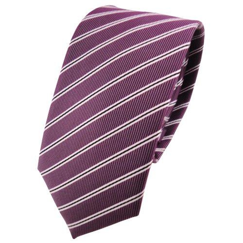 TigerTie Schmale Krawatte pflaume violett silberweiß schwarz gestreift - Schlips Binder Tie