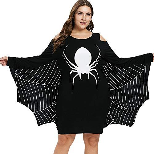 Freizeitkleidung Sweatshirt Gothic Spider Print Hoodie Damen Halloween Kostüm Kapuzenoberteil Plus Size Herbst Streetwear Fashion Casual Schwarz Damen Sweatshirt für Frauen Mädchen ( Size : 5X )
