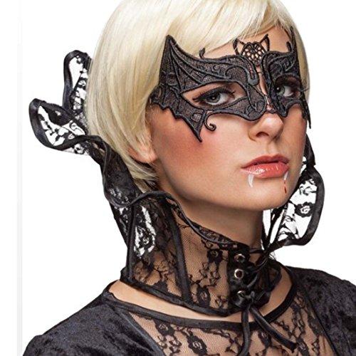 Gothic Stehkragen Spitzenkragen Vampir Lady schwarz Kragen böse Königin Hexe Stuartkragen Fledermaus Accessoire Halloween Kostümzubehör dunkle (Böse Fee Kostüme Halloween)