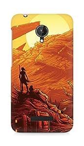 Amez designer printed 3d premium high quality back case cover for Micromax Canvas Spark Q380 (Starwars art illust orange red)