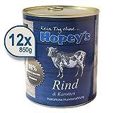 Hopey's Nassfutter Rindfleisch für Hunde, Hundefutter mit hohem Fleischanteil 12 x 850g Dosen