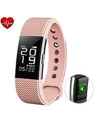 Fitness Tracker Herzfrequenz Monitor Touch Bildschirm Tätigkeit Schrittzähler mit wasserdicht Smart Handgelenk und Sleep Monitor Smart Armband für Andorid und iOS, bhtsmart F2