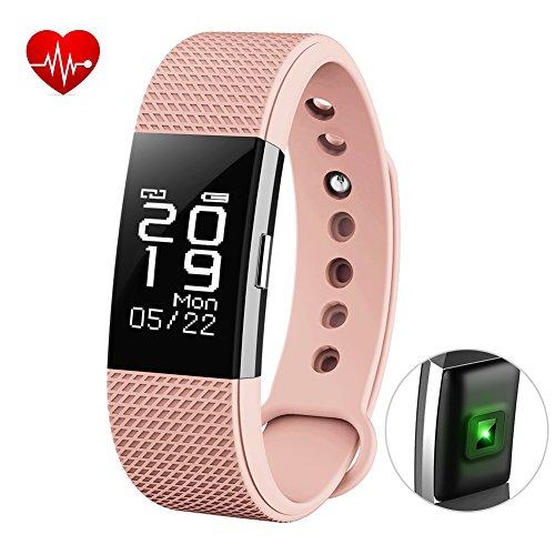 Bhtsmart F2 Fitness-Armband, Herzfrequenzmesser, Touch-Screen, Aktivitäten-Tracker, Schrittzähler mit wasserdichtem Smart-Armband und Schlafüberwachung, für Android und iOS , rose