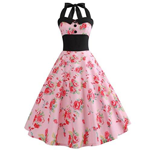 Vintage Kleid,Yesmile 2018 Neu 50er Swing Sexy Blume Rockabilly Kleid Frauen Trägerlos Kleider Frauen Jahre Vintage Cocktailkleid Röcke Petticoat Elegant Partykleider Cocktailkleider (XL, ()