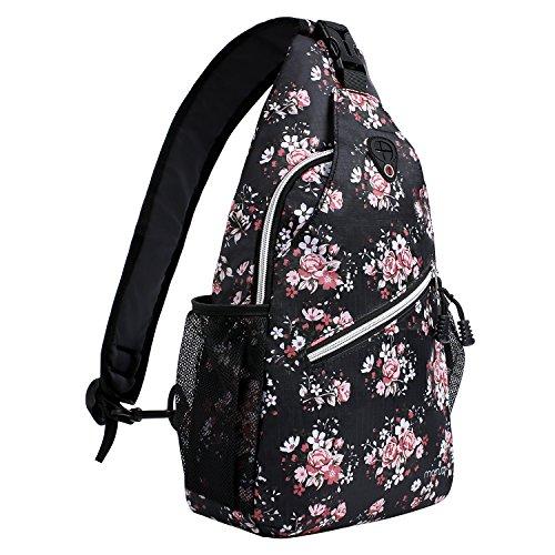 MOSISO Brusttasche Sling Rucksack Schultertasche, Polyester Crossbody Umhängetasche Sporttasche Kompatibel Herren Damen Mädchen Jungen Reise Daypack, Schwarze Basis Blumen -