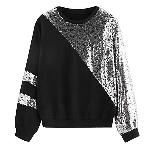 e4163693b693 GreatestPAK Damen Shirts Pailletten Tops T-Shirts Sexy Lässig Lang Ärmel  Schnitt und Nähen Panel Sweatshirt