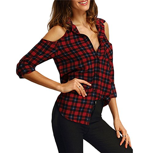 Damen Sexy Blusen Trägerlosen Shirts langärm T-Shirts Tartan Tops Arbeiten Hemdedn Lässig Täglich Rot Grün XS - XL Juleya (Damen Karo Hose)