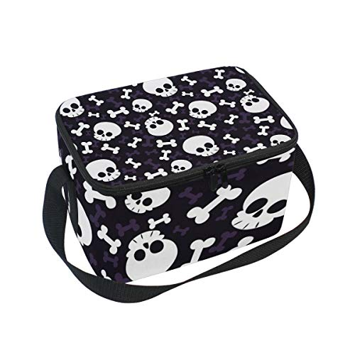 ALINLO Halloween-Lunchtasche mit Totenkopf-Muster, Reißverschluss, isolierte Kühltasche, Lunchbox, Essen Vorbereitung, Handtasche für Picknick, Schule, Damen, Herren, Kinder