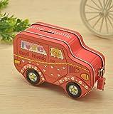 Sun Glower Geld Banken Bunte Cartoon Auto Piggy Bank Creative Zinn Aufbewahrungsbox Candy Jar (rot)