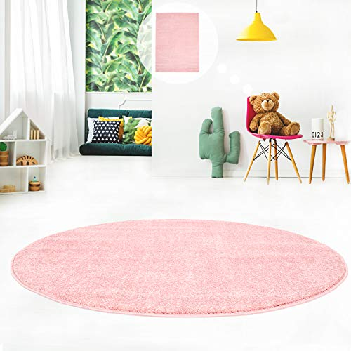 MyShop24h Teppich Flachflor fürs Jugendzimmer Kinderzimmer Einfarbig Modern Pastellfarben Uni, Größe in cm:120 x 120 cm rund, Farbe:120x120_Rosa