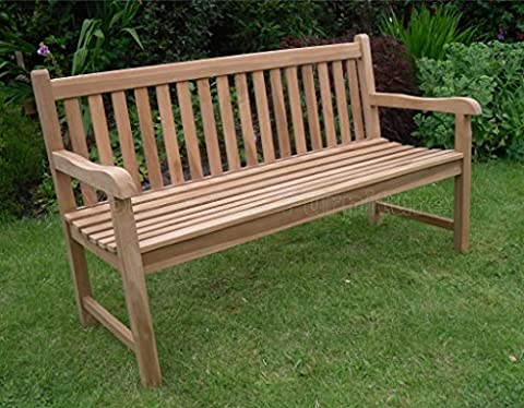 5ft 150cms Chunky Teak 3 Seat Garden Park Bench Java Garden Furniture For Your Patio