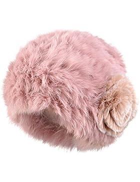 Kenmont donne autunno inverno signora 100% vera pelliccia di coniglio mano del cappello del beanie del knit