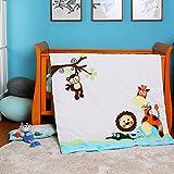 i-baby Set Biancheria da Lettino 5 pezzi (copripiumino + trapunta + federa + cuscino + foglio) (Avventura Nella Giungla)