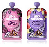 Tiny Spoons Organic Baby Food Puree with Blueberry, Apple, Banana, Strawberry, Plum and Prune (120gm Each)-Pack of 2