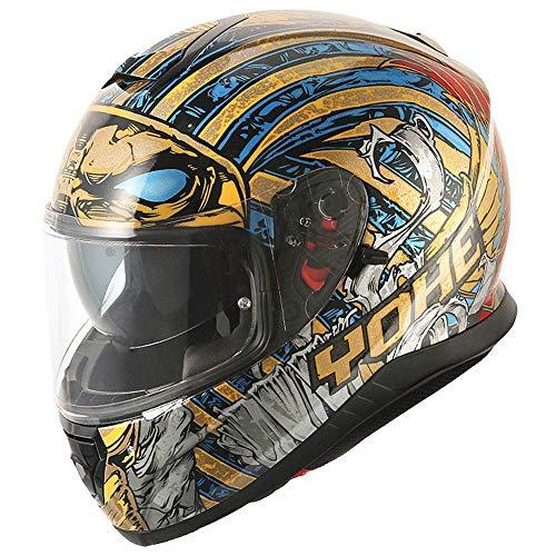 SK-LBB Casco Motocross Vintage Cobra Casco, Foresta pluviale tropicale Cooler Pharao Moto Casco Pieno Double Lens Front Flipping Offroad Casco