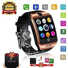 Smart Watch Phone Touchscreen,Bluetooth Smartwatch con Camera,Smart Orologio,Impermeabile Orologio Intelligente con SIM Card Fessura per Android Samaung Ios Apple Iphone 7 Plus 6 Donna Uomini Uomo (Dorato-Smartwatch)