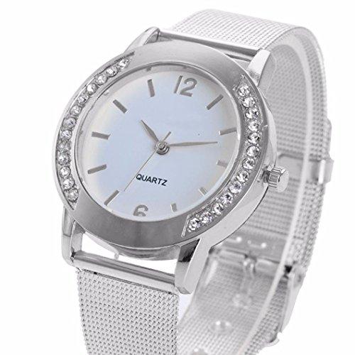SUNNSEAN Uhr,Mode-Frauen-Kristallsilber-Edelstahl-analoge Quarz-Armbanduhr Diamant Armbanduhr Damen Klassisch Einfach Uhren (Silber)