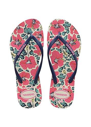 Havaianas Damen Flip Flops Slim Floral Grösse 35/ 36 EU ( 33/34 Brazilian) Weiß/Navy Blau Zehentrenner für Frauen
