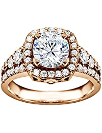 Silvernshine 1.3 Ct D/VVS1 Round Cut Diamond Solitaire Engagement Ring 14k Rose Gold Plated