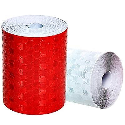2Stück reflektierende Sicherheit Klebeband, ruix EZ Share 3m * 50mm Reflektor Tape Warnung Klebeband Markierungsband, weiß und rot