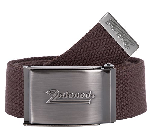 2Stoned Tresor-Gürtel Geldgürtel Braun 4 cm breit Matte Schnalle Speed, Safe Belt für Damen und Herren