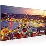 Bilder Istanbul Türkei Wandbild 100 x 40 cm Vlies - Leinwand Bild XXL Format Wandbilder Wohnzimmer Wohnung Deko Kunstdrucke Violett 1 Teilig -100% MADE IN GERMANY - Fertig zum Aufhängen 603112a