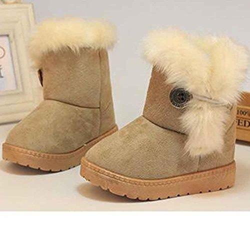 Bild von HUHU833 Kinder Mode Baby Mädchen Stiefel, Warme Watte Gepolsterten Schuhe Fell Boots Knopf warm gefüttert Baby Schlupfstiefel Schneestiefel