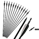 """Huntingdoor 31 """"Frecce per frecce in alluminio tiro con l'arco per arco ricurvo e composto 12pcs (nero)"""