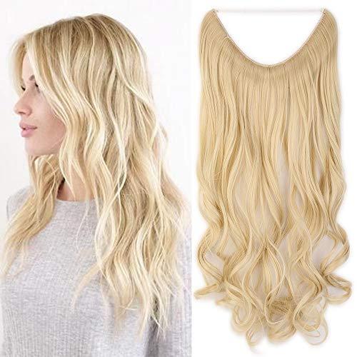 Extension capelli ondulati biondi con filo invisibile fascia unica trasparente 50cm pezzo unico wire in hair extensions 3/4 full head lunghi mossi, biondo